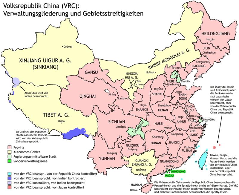 Administrative Gliederung der Volksrepublik China