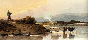 George Chinnery - An Indian herdsman on a bank, cattle watering in a river below