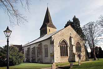 Alton, Hampshire - Church of St Lawrence. During the battle, many Parliamentary troops forced their way in through the west door (right), now walled up.