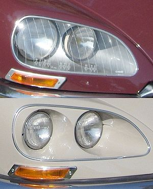 Headlamp - European (top) and US (bottom) headlamp configurations on a Citroën DS