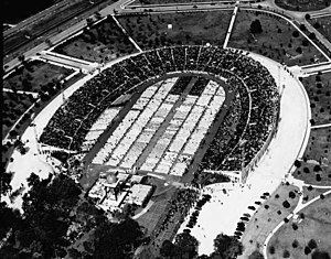 Eucharistic Congress - An aerial view of City Park Stadium, in New Orleans, filled with worshippers at the National Eucharistic Congress of 1938