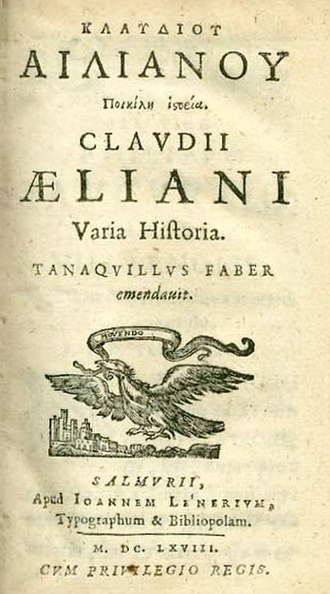 Claudius Aelianus - Title page of Varia Historia, from the 1668 edition by Tanaquil Faber