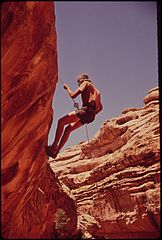 Climbing Out from the Head of Water Canyon, near the Maze, a Remote and Rugged Region in the Heart of the Canyonlands, 05-1972 (3814165901).jpg