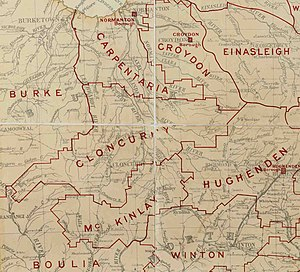 Shire of Cloncurry - Map of Cloncurry Division and adjacent local government areas, March 1902