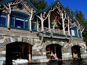 Adirondack Architecture - A new boathouse at Camp Topridge, built by Harlan Crow