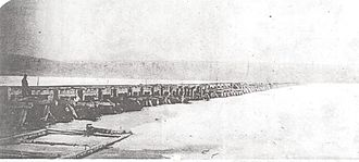 Rice Lake (Ontario) - Cobourg and Peterborough Railway bridge on Rice Lake, which was built in 1854 and lasted only six years.