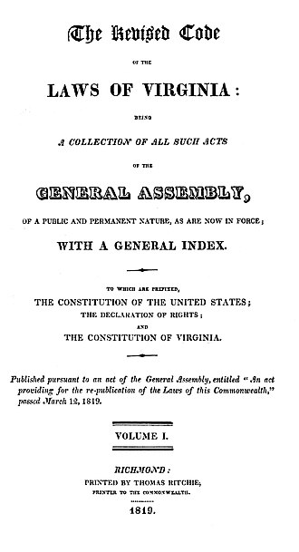 Code of Virginia - Title page to the Code of 1819, formally titled The Revised Code of the Laws of Virginia