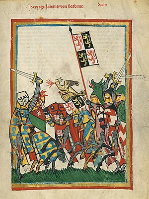 War flag - A knight (Jan I van Brabant) flying a heraldic flag in battle, in addition to the heraldic device displayed on his shield (Codex Manesse, ca. 1304)