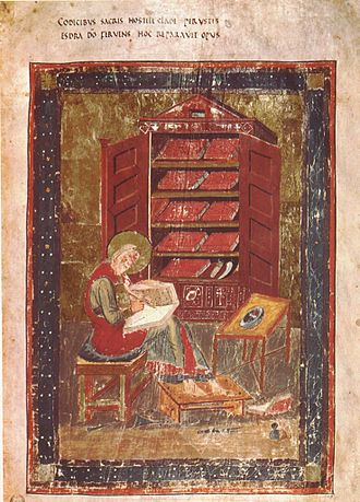 Perspective (graphical) - Illustration of Ezra in the Codex Amiatinus (c. 7th century)
