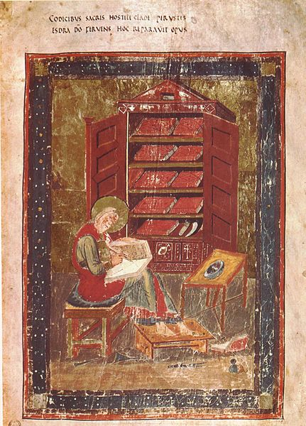 A scribe at work in a library or scriptorium, representing Ezra, from the Codex Amiatinus (image from Wikimedia Commons)