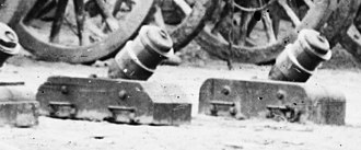 Mortar (weapon) - 1841 US Coehorn mortars, photographed in 1865