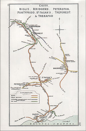 Treforest railway station - A 1912 Railway Clearing House Junction Diagram showing (left) railways in the vicinity of Treforest (upper left)