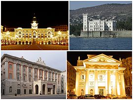 A collage of Trieste showing the Piazza Unità d'Italia (formerly known as Piazza Grande; top left), the Castello Miramare, the Teatro Giuseppe Verdi and the Trieste Stock Exchange