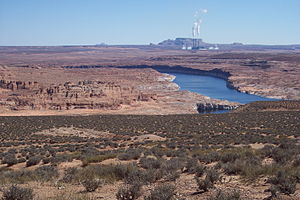 Page, Arizona - Colorado River, Page city area on the right and Navajo Generating Station in the background