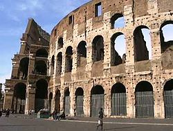 The inner layers of the Colosseum, showing the construction of the outer layers.