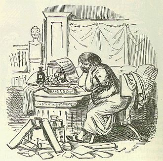 Scipio Aemilianus - Scipio Aemilianus cramming himself for a speech after a hearty supper. Image by John Leech from The Comic History of Rome, by Gilbert Abbott à Beckett.