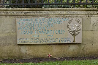 Frank Foley - Commemorative plaque at Mary Stevens Park, Stourbridge
