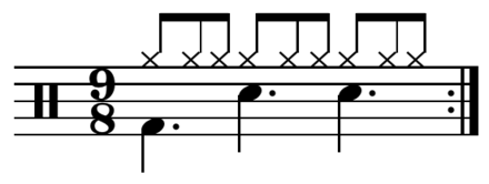 Compound triple drum pattern: divides three beats into three. Play (help*info) Contains repetition on three levels. Compound triple drum pattern.png
