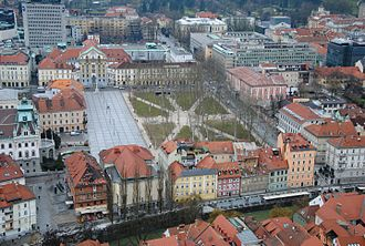 Congress Square - Congress Square viewed from Ljubljana Castle. Star Park is visible on the right.