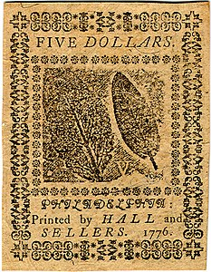 Continental Currency $5 banknote reverse (February 17, 1776).jpg