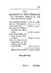 Contribution der Stadt Bamberg bey dem Preußischen Einfall im J. 1758 unter dem General Driesen, S. 733