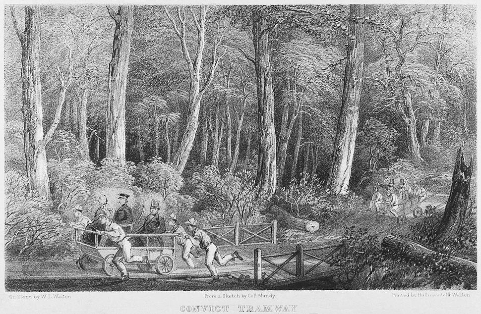 Convict Tramway (Sketch by Col. Mundy) Tasmanian Archives NS1013-1-1594