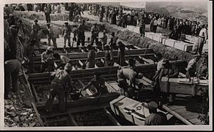 "Kfar Etzion massacre - Casualties of the ""Convoy of 35"" being brought to burial. January 1948"
