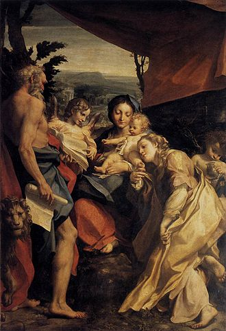 Madonna of St. Jerome (Correggio) - Image: Correggio Madonna and Child with Sts Jerome and Mary Magdalen (The Day) WGA05327