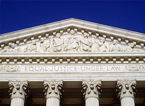 The inscription Equal Justice Under Law as see...