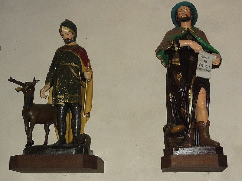 Cousolre (Nord, Fr) église, statues St.Hubert et St. Roch