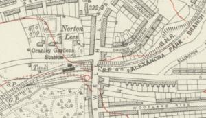 Cranley Gardens railway station - Cranley Gardens station on a 1920 map
