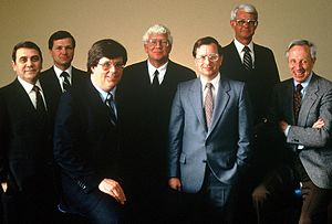 Harry Garland - Harry Garland with the officers and directors of Cromemco in 1984. From left to right: Andy Procassini, Mike Ramelot, Roger Melen, Chuck Bush, Harry Garland, Glenn Penisten, John G. Linvill.