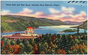 Crown Point (Oregon) - Image: Crown Point and Vista House, Columbia River Highway, Oregon (69070)