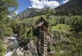 Crystal Mill, an 1892 wooden powerhouse located on an outcrop above the Crystal River in what remains of an old mining town, Crystal, high in the Rocky Mountains in Gunnison County, Colorado LCCN2015633760.tif