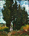 12 / Cypresses with two figures