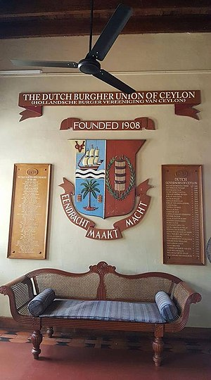 Dutch Burgher Union of Ceylon - The memorial plaques at the Dutch Burgher Union of Ceylon, Colombo
