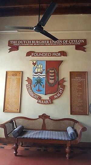 Dutch Burgher Union of Ceylon - The memorial plaques at the Dutch Burgher Union of Ceylon, Colombo