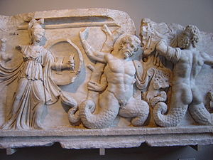 Giants (Greek mythology) - In the Gigantomachy from a 1st-century AD frieze in the agora of Aphrodisias, the Giants are depicted with scaly coils, like Typhon