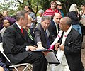 DSC 0143 Governor O'Malley, Delegate Hixson, Senator Raskin and Blessed Coffee founder, Tebabu Assefa. (6175915905).jpg