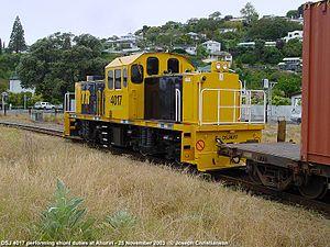 New Zealand DSJ class locomotive - DSJ 4017 performing shunt duties at Ahuriri.