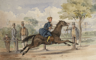 British nobility horse racing at Apsley House, London c. 1850s DV307 no.84 Horse racing near Apsley House, London.png