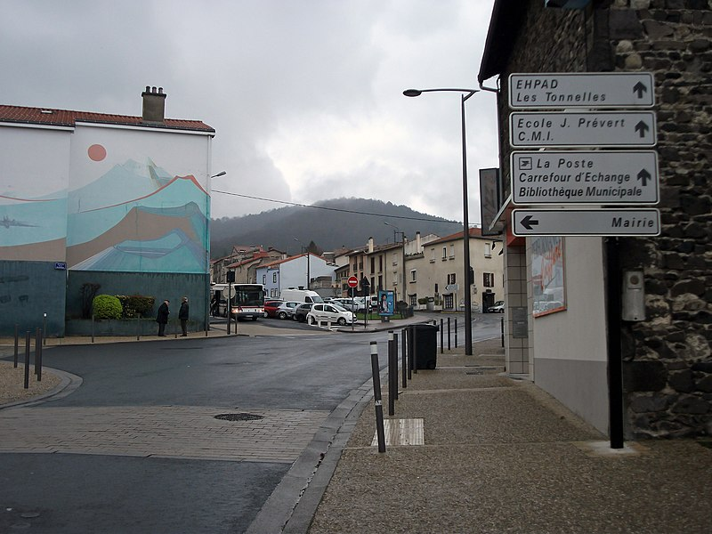 Departmental road 3 in Romagnat, Puy-de-Dôme, France towards Opme