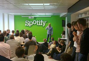 Daniel Ek addressing Spotify staff.