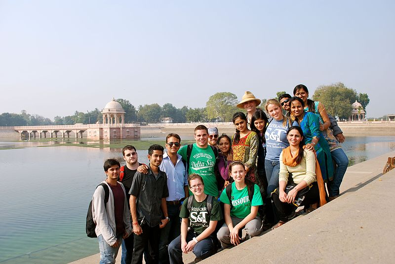Daniel Oerther posing with students during a study abroad trip to Gujarat, India.jpg