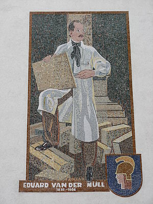 Eduard van der Nüll - Mosaic corner of Van-der-Nüll-Gasse/Davidgasse streets in Vienna-Favoriten