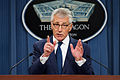 Defense Secretary Chuck Hagel takes questions from reporters during a news conference at the Pentagon, Jan. 22, 2015 150122-D-IX214-003.jpg