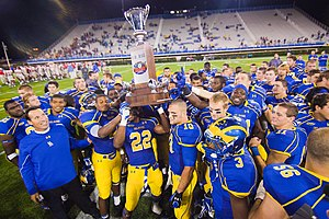 Route 1 Rivalry - Image: Delaware receives the first state cup after defeating Delaware State during a Week 3 NCAA football game Saturday Sept. 17, 2011