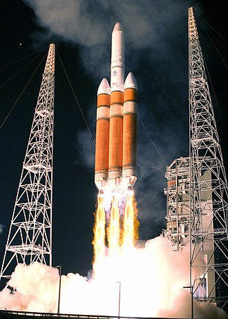 United States Air Force - Launch of an Air Force Delta IV heavy rocket carrying a DSP-23 early warning satellite