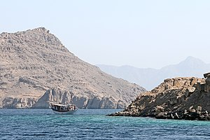 Musandam Governorate - Dhow along the coast of Khasab, Oman