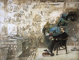 Gads Hill Place - Dickens' Dream by Robert William Buss, portraying Dickens at his desk at Gads Hill surrounded by many of his characters